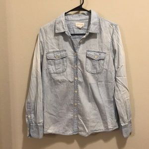 Tops - Light Wash Chambray Button Down Shirt